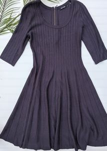 Nic + Zoe Blue/Gray Ribbed Sweater Dress